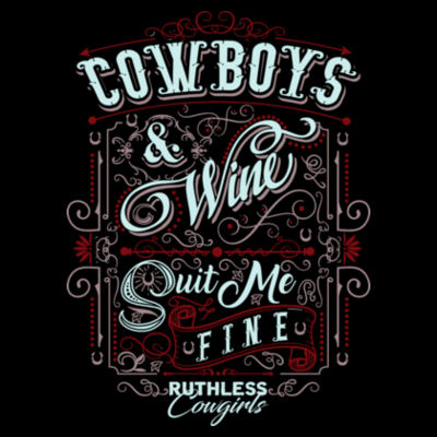 COWBOYS & WINE - WOMEN'S PREMIUM S/S TEE MADE IN USA - BLACK Design