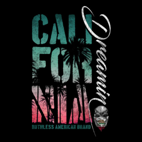 CALIFORNIA DREAMIN - WOMEN'S PREMIUM RACERBACK TANK TOP MADE IN THE USA - BLACK Design