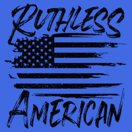 RUTHLESS AMERICAN - WOMEN'S PREMIUM RACERBACK TANK TOP MADE IN USA - BLUE HEATHER Design