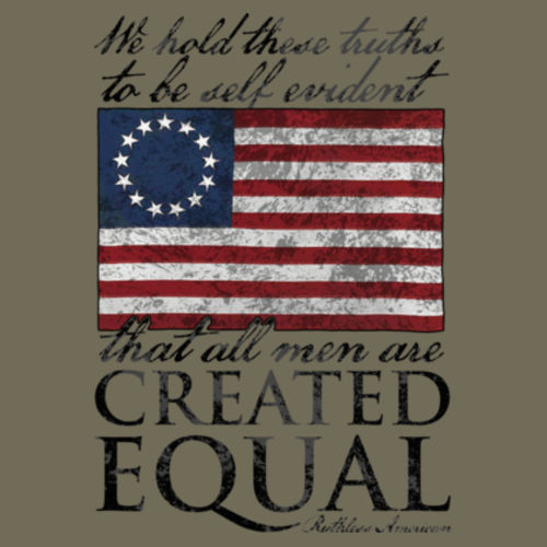 CREATED EQUAL - PREMIUM MEN'S S/S T-SHIRT MADE IN THE USA - MILITARY GREEN Design