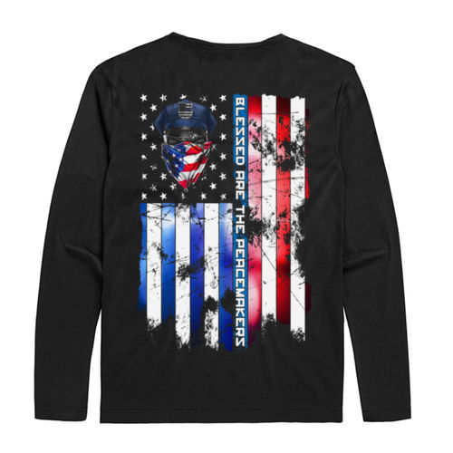 BLESSED ARE THE PEACEMAKERS - MEN'S PREMIUM L/S TEE MADE IN USA - BLACK Thumbnail