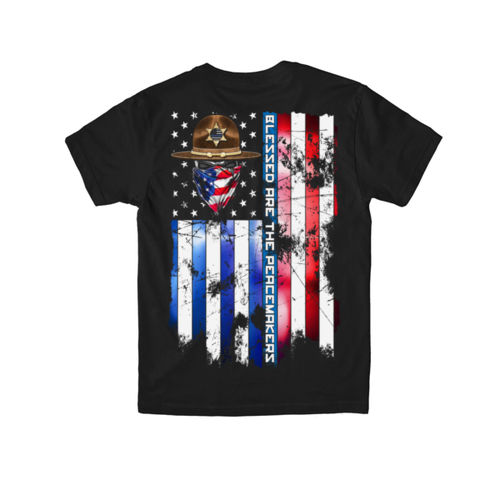 BLESSED ARE THE PEACEMAKERS - SHERIFF - YOUTH PREMIUM S/S TEE MADE IN USA - BLACK Thumbnail