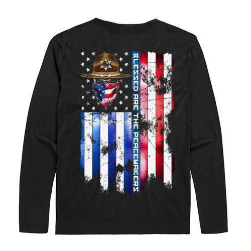 BLESSED ARE THE PEACEMAKERS - SHERIFF -UNISEX PREMIUM L/S TEE MADE IN USA - BLACK Thumbnail