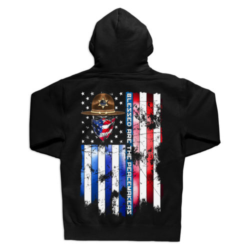 BLESSED ARE THE PEACEMAKERS - SHERIFF - UNISEX PREMIUM PULLOVER HOODIE MADE IN USA - BLACK Thumbnail