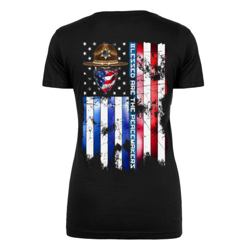 BLESSED ARE THE PEACEMAKERS - SHERIFF - WOMEN'S PREMIUM S/S TEE MADE IN USA - BLACK Thumbnail