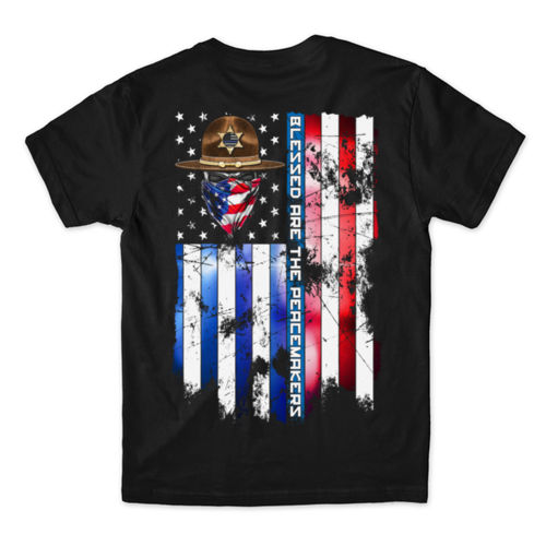BLESSED ARE THE PEACEMAKERS - SHERIFF - MEN'S PREMIUM S/S TEE MADE IN USA - BLACK Thumbnail
