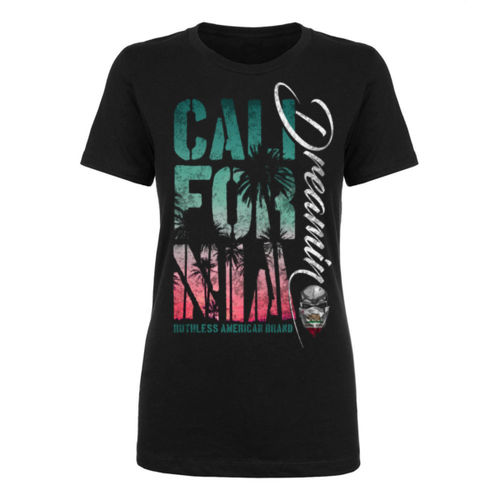 CALIFORNIA DREAMIN - WOMEN'S PREMIUM SHORT SLEEVE T-SHIRT MADE IN THE USA - BLACK Thumbnail