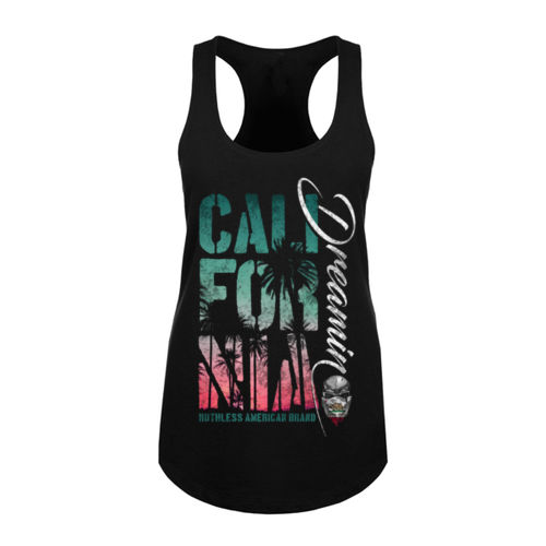 CALIFORNIA DREAMIN - WOMEN'S PREMIUM RACERBACK TANK TOP MADE IN THE USA - BLACK Thumbnail