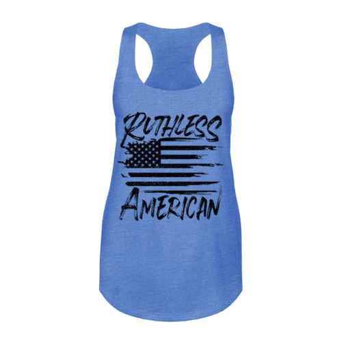 RUTHLESS AMERICAN - WOMEN'S PREMIUM RACERBACK TANK TOP MADE IN USA - BLUE HEATHER Thumbnail