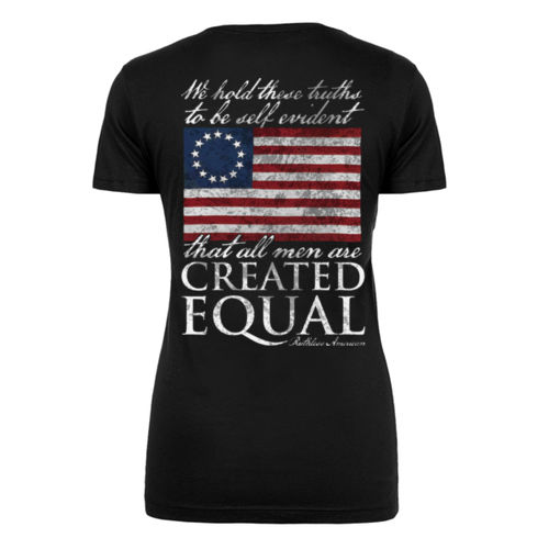 CREATED EQUAL - PREMIUM WOMEN'S S/S T-SHIRT MADE IN THE USA - BLACK Thumbnail