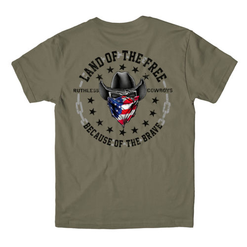 LAND OF THE FREE - PREMIUM S/S TEE MADE IN USA - MILITARY GREEN Thumbnail
