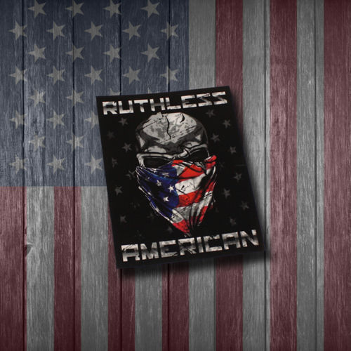 MEDIUM RUTHLESS AMERICAN RECTANGLE LOGO DECAL - 6 INCHES TALL Thumbnail