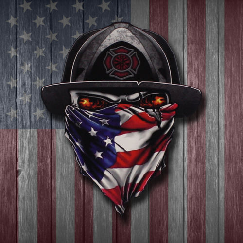 LARGE RUTHLESS AMERICAN FIREFIGHTER LOGO DECAL - 9.5 INCHES TALL Thumbnail