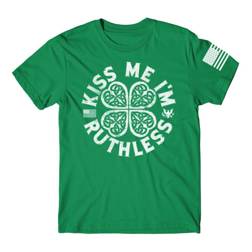 KISS ME I'M RUTHLESS - PREMIUM MEN'S S/S T-SHIRT MADE IN THE USA - KELLY GREEN W/ WHITE INK Thumbnail