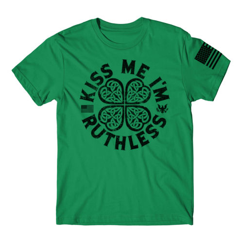 KISS ME I'M RUTHLESS - PREMIUM MEN'S S/S T-SHIRT MADE IN THE USA - KELLY GREEN W/ BLACK INK Thumbnail