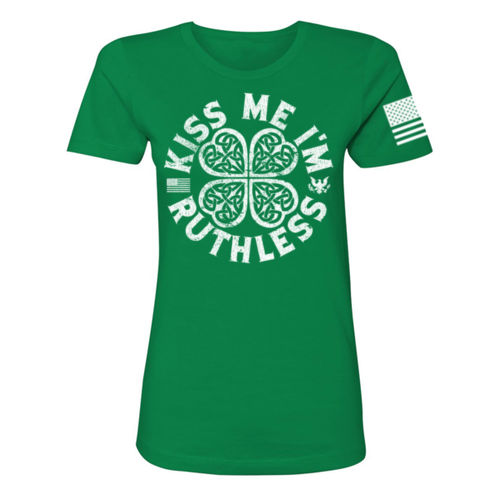 KISS ME I'M RUTHLESS - PREMIUM WOMEN'S S/S T-SHIRT MADE IN THE USA - KELLY GREEN W/ WHITE INK Thumbnail